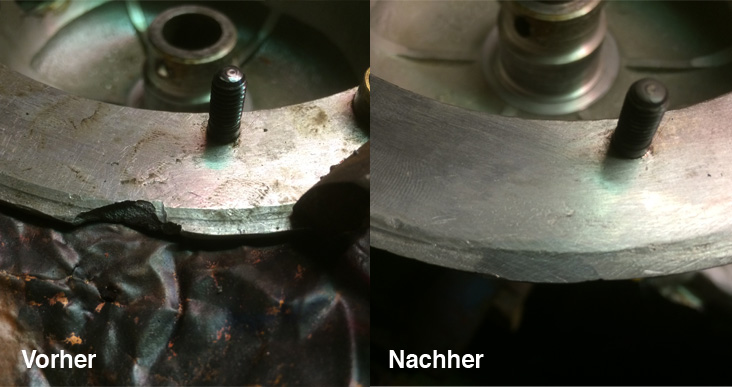 Mit aluAgent Aluminium Lötdraht repariertes Kardangehäuse von Herrn Bläsing